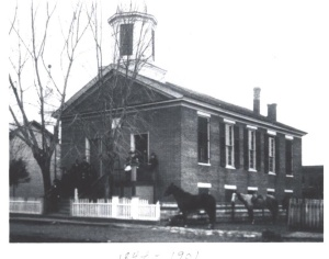 The first Rocheport Methodist Church building, built in 1844 and demolished in 1901.
